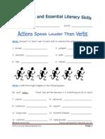 Lesson 8 - Actions Speak Louder Than Verbs Worksheet