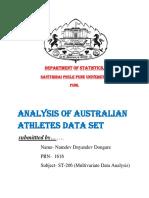 Analysis of athletics  data