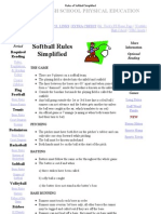 Rules of Softball Simplified