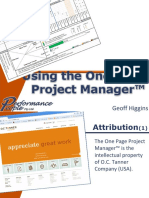 Using the One Page Project Manager 1233449659402110 1