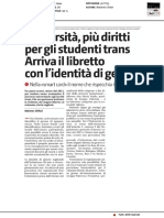 Università, più diritti per gli studenti trans, arriva il libretto di genere - Il Giornale di Sicilia del 24 aprile 2018