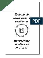 Trabajo de recuperacion pendiente 3ºeso matematicas academicas