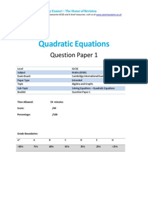 254 1 Quadratic Equations-cie Igcse Maths 0580-Ext Theory-qp