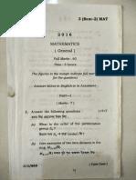 Gauhati University B.sc Mathematics General 2nd Sem 2016
