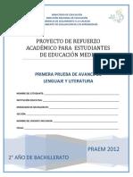 Primera Prueba de Avance de Lenguaje y Literatura - Segundo Anio de Bachilllerato - PRAEM 2012.pdf