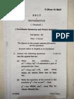 Gauhati University B.sc 4th Sem Mathematics General 2017