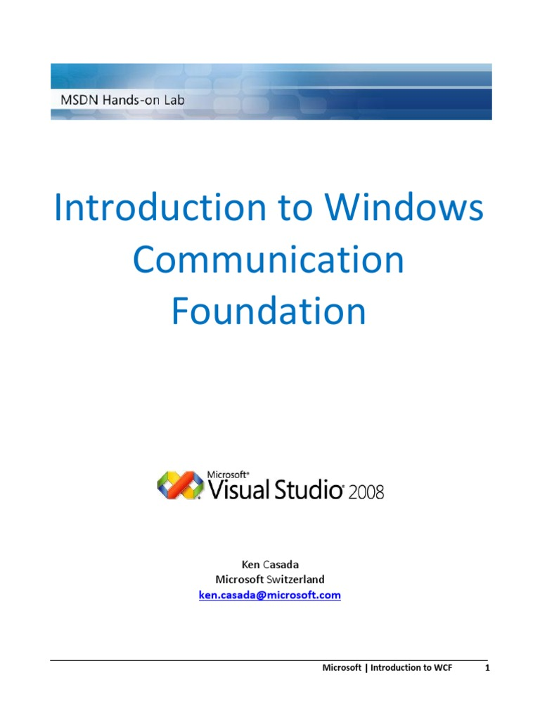 MSDN WCF Hands-On-Lab Manual | Windows Communication Foundation | Internet  Information Services