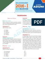 Unmsm 2016-1 Solucionario Sabado