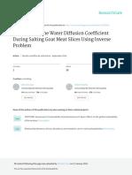 Determinacion del coef de difusion de agua durante salado de carne caprina usando PROBLEMA INVERSO.pdf