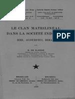 Hum.sc.(IRCB)_T.xiv,2_DE CLEENE N._le Clan Matrilinéal Dans La Société Indigène Hier, Aujourd'Hui, Demain_1946(1)