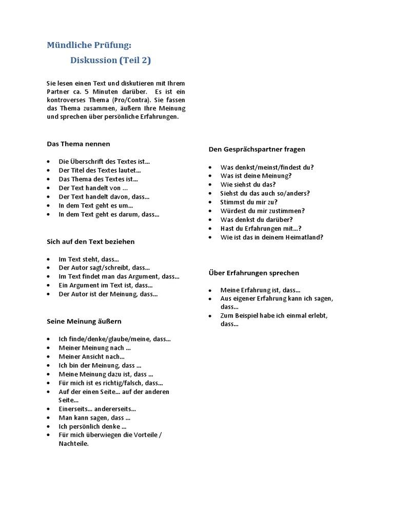 b2 Redemittel Mundliche Prufung Diskussion Deutsch