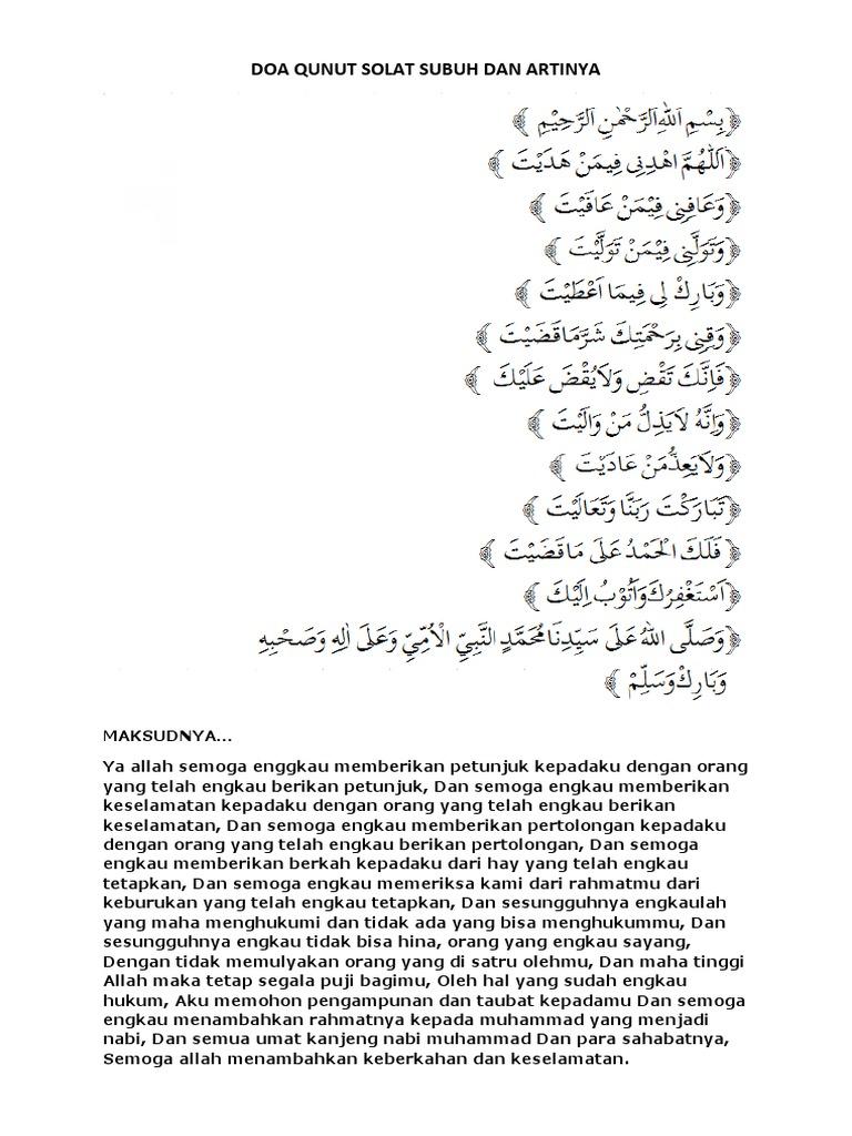 Doa Qunut Solat Subuh Dan Artinyadocx