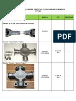 Especificaciones Cardan, Crucetas y Yoke Wf-400