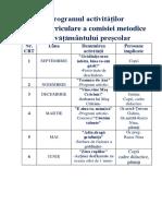 Programul Activităților Extracurriculare a Comisiei Metodice