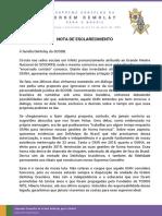 Nota de Esclarecimento à Família DeMolay Do SCODB.