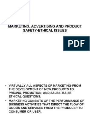 Marketing, Advertising and Product Safety-ethical Issues
