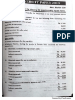 cost accounting 5 years paper solution punjab university
