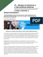 CONJUNTURA - Ajustes Econômicos e Financiamento Das Políticas Públicas
