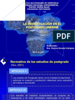 Iinvestigación en El Postgrado Unermb