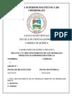 RECONOCIMIENTO DE LOS MINERALES MEDIANTE SUS PROPIEDADES FÍSICAS
