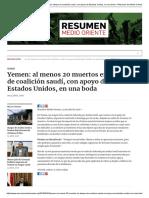 Yemen_ Al Menos 20 Muertos en Ataque de Coalición Saudí, Con Apoyo de Estados Unidos, En Una Boda – Resumen de Medio Oriente