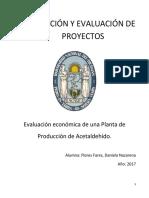 EVALUACION ECONOMICA Planta de Acetaldehído