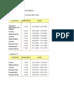 Academic Calendar for Degree