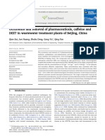 [Qian Sui][Occurrence and Removal of Pharmaceuticals, Caffeine and DEET in Wastewater Treatment Plants of Beijing, China]