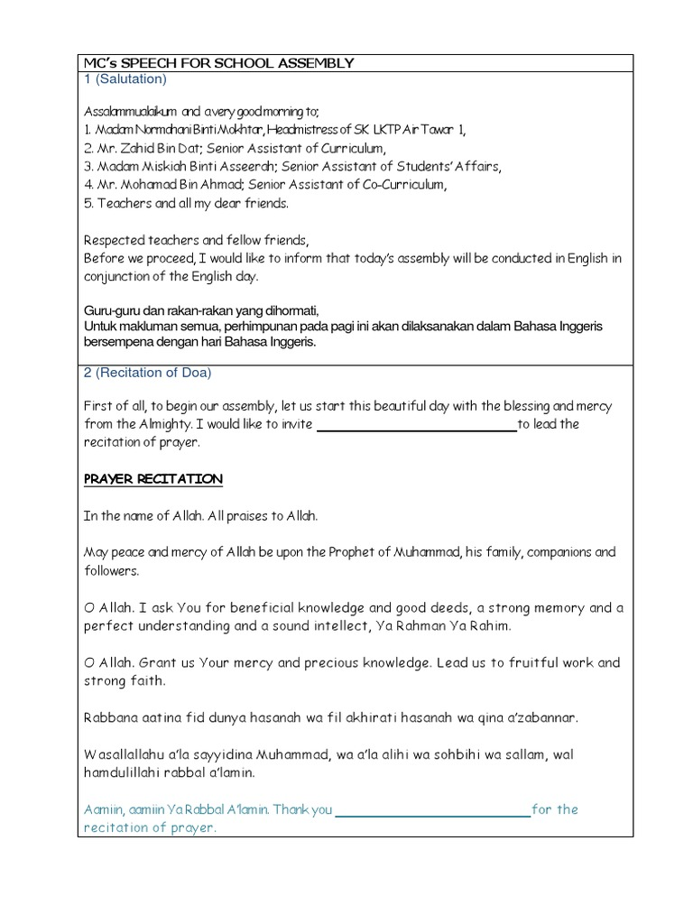 MC SCRIPT FOR MORNING ASSEMBLY docx | Religious Behaviour And