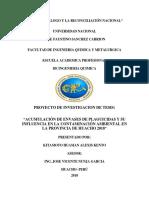 Acumulación de Envases de Plaguicidas y Su Influencia en La Contaminación Ambiental en La Provincia de Huacho 2018