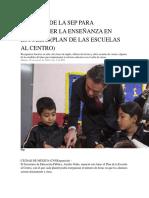 6 Puntos de La Sep Para Fortalecer La Enseñanza en Escuelas Al Centro