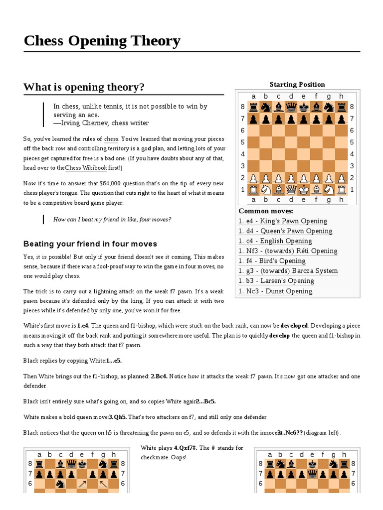 Chess Opening Theory Openings Four Move Checkmate Diagram