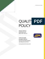 JJM Construction Ltd Quality Policy
