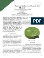 Desalination of Seawater by Reverse Osmosis Ro Method