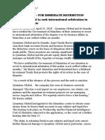 Communiqué de Quantum Global annonçant son intention de recourir à l'arbitrage international