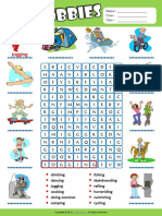 Hobbies Esl Vocabulary Word Search Worksheet for Kids