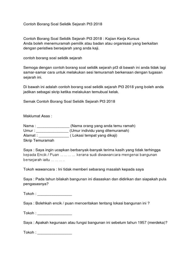 Contoh Borang Soal Selidik Sejarah Pt3 2018