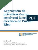 El proyecto de privatización no resolverá la crisis eléctrica de Puerto Rico