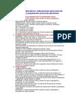 Análisis de Laboratorio Indicaciones Para Toma de Muestra y Preparación Previa de Pacientes310305