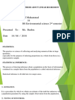 Testing of hypotgesis about linear regression Atif Muhammad