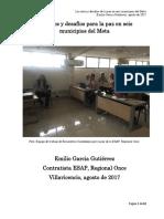 Los Retos y Desafíos Para La Paz en Seis Municipios Del Meta