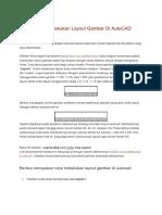 Prinsip Cara Melakukan Layout Gambar Di AutoCAD