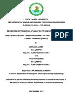 Design and Optimisation of Kibini Open Pit Mine in Kenya