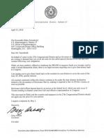 Letter from Gov. Abbott to Rep. Farenthold Regarding Emergency Special Election Letter