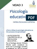UNIDAD 3. PSICOLOGÍA EDUCATIVA
