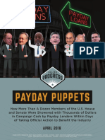 Senators, Representatives Took Thousands from Payday Lenders Within Days of Taking Official Actions to Benefit Industry