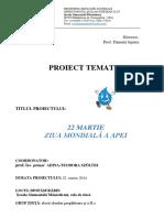 Proiect 22 Martie Ziua Mondiala a Apei
