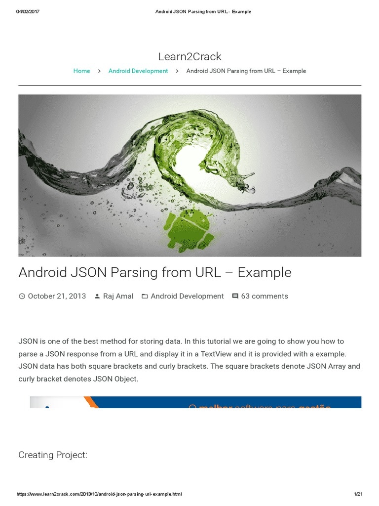 Android JSON Parsing From URL - Example | Json (35 views)