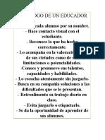 DECÁLOGO DE UN EDUCADOR