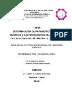 DETERMINACIÓN de PARÁMETROS FÍSICOS, Quimicos y Bacteriologicos Del Contenido de Las Aguas Del Rio Mazan